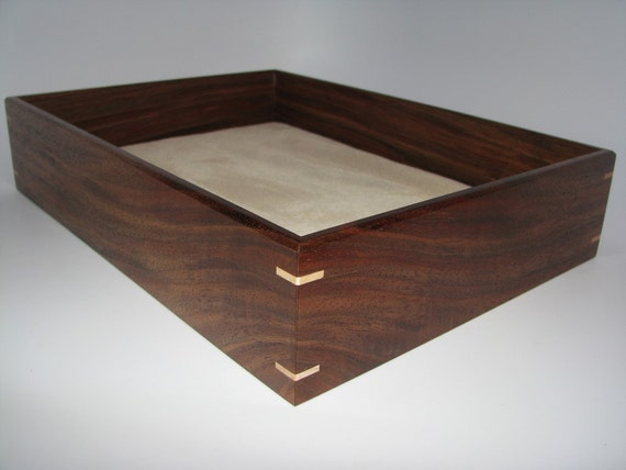 Large Coffee Table Tray In Walnut Wooden Tray Upholstered In