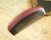 Small Purpleheart Wood and Buffalo Horn Hair Comb