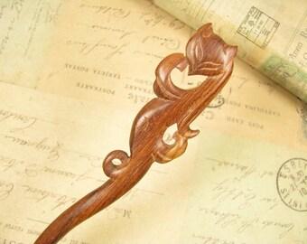 Swartizia Wood Hair Sticks - Fox Fairy
