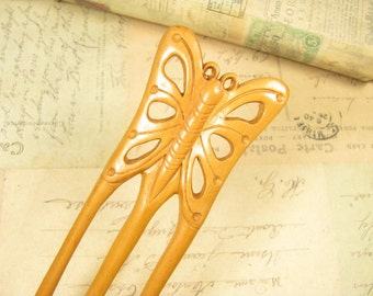 Peach Wood Three Prongs Hair Fork - Butterfly