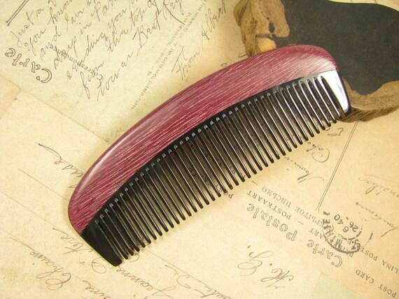 Small Purpleheart Wood and Buffalo Horn Hair Comb