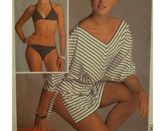 "Bikini Pattern, Beach Cover-Up, Blouson, V-Neck, Brooke Shields, Vintage 1980s, McCalls No. 8583 Size 10 (Bust 32.5"" 83cm)"