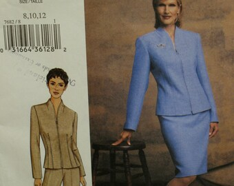 Zipper Front Jacket Pattern, Fitted, Long Sleeves, High Collar, Fitted Straight Skirt,Tapered Leg Pants, Vogue No. 7682 UNCUT Size 14 16 18