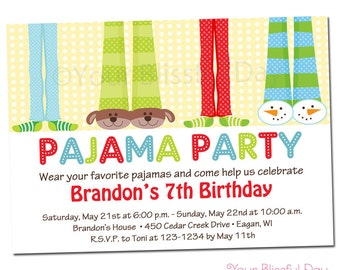 PRINTABLE Boy Pajama Party Invitations #563