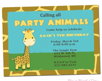 PRINTABLE Giraffe Party Invitations (Boy or Girl) #531