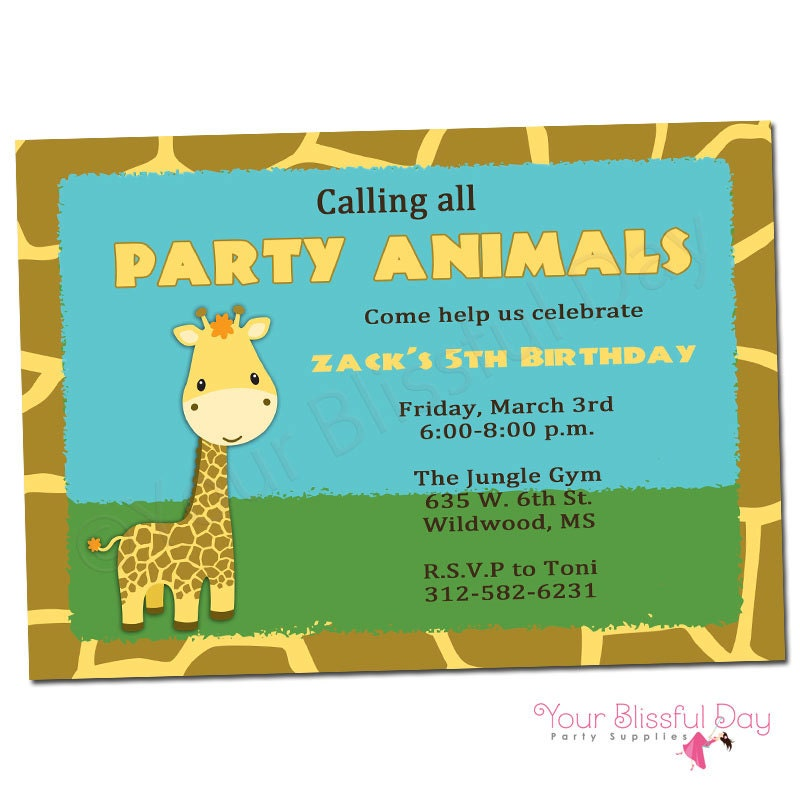 PRINTABLE Giraffe Party Invitations Boy or Girl 531