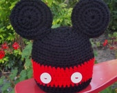 Mickey Mouse Style Crochet Cap in choice of 5 sizes