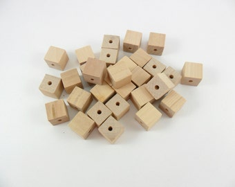 """Square Wood Beads 1/2"""" with 1/8"""" Hole Unfinished Wood - 30 Pieces"""