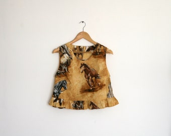 Clearance SALE/ Horses print Crop Top/ Brown printed Tank / sleevless women shirt / Summer fashion/ Peasant blouse