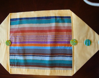 Table runner, Southwestern colors table runner, button embellished table runner, turquoise and orange table decoration