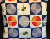 """Hand Painted Silk Throw Pillow -  """"Squared Circles"""""""