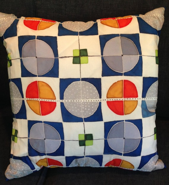 SQUARED CIRCLES -Hand Painted Silk Decorative Pillow