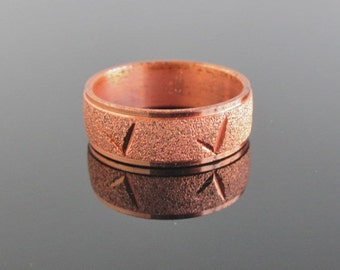 Solid Copper Band / Ring - Textured Finish - Vintage, Size 6 3/4