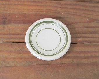 Green and White Restaurant Ware Butter Pat