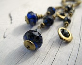 Bohemian Cobalt Convertible Necklace, Czech Glass Necklace, Dazzling Blue, Antique Brass