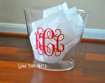 Personalized Monogram Acrylic Trash Can
