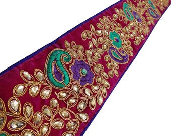 Paisley Golden Embroidered Trim Indian Sari Border Supplies Royal Apparel Dress Fabric Lace Sewing Supply Floral lace Trim By 1 Yard FT391A