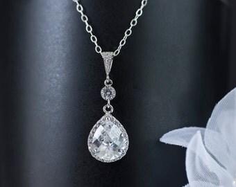 Bridal Necklace, Bridal Jewelry, Cubic Zirconia Teardrop Bridal Necklace, Wedding Jewelry, Bride Bridesmaids Necklace