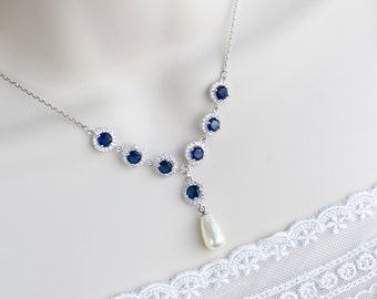 Bridal Necklace, Bridal Pearl and Blue Sapphire Necklace, Something Blue Necklace, Wedding Jewelry, Bridal Jewelry, Sapphire Pearl Necklace