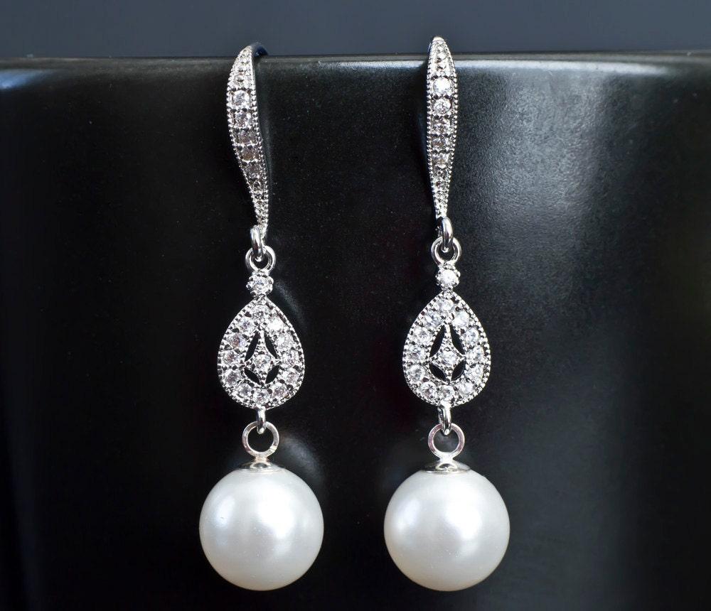Bridal Earrings Bridal Pearl Earrings Dangle Pearl Earrings