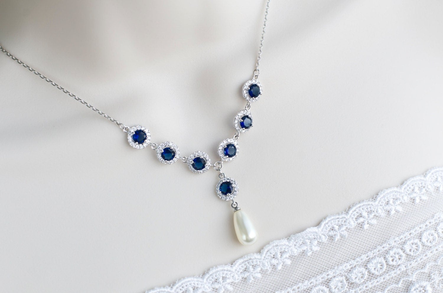 bridal necklace bridal pearl and blue sapphire necklace. Black Bedroom Furniture Sets. Home Design Ideas