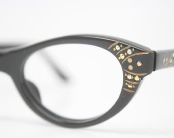 Black cat eye glasses rhinestone vintage eyeglass frames
