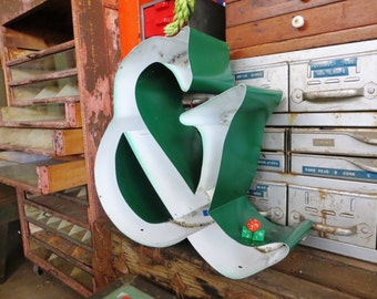 """Vintage Marquee Sign Ampersand Symbol: Curvy Emerald Green & White Three-D Neon Channel """"And"""" Industrial Advertising Symbol w/ WORKING LEDs"""