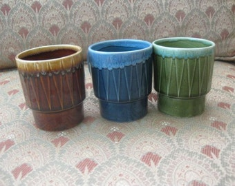 Set of Three Made in Japan Geometric Drip Glaze Stacking Mugs