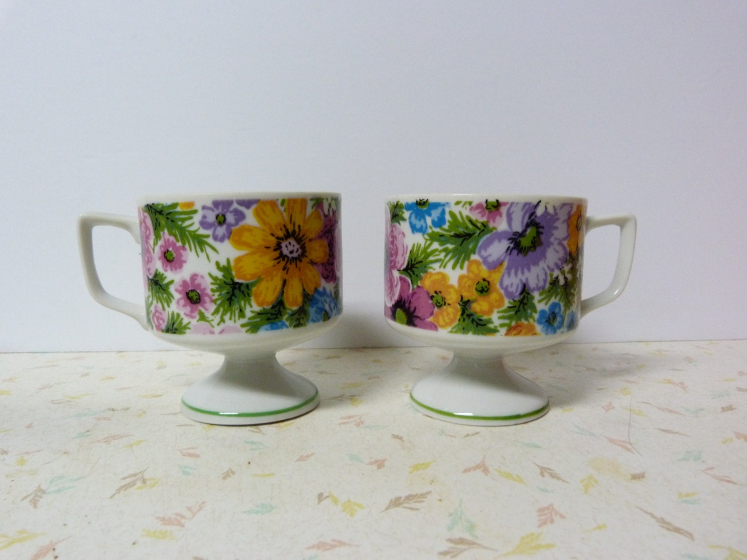 Vintage Mid Century Modern Coffee Mugs Stacking By