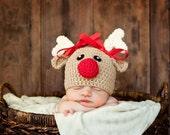 Crochet reindeer hat baby reindeer hat newborn reindeer hat rudolph hat baby rudolph baby christmas hat newborn photo prop christmas prop