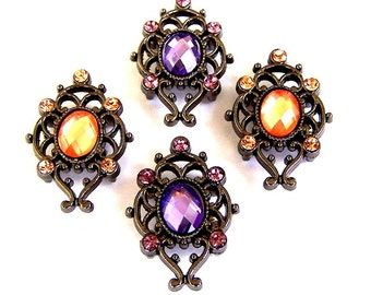 Lavender and peach 2 hole slider beads, purple and orange Victorian style, 2 of each
