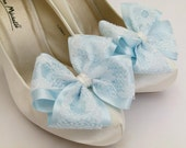 Light Blue ShOe CliPs Satin and Ivory Lace Bows for Shoes Heels or Flats Bridal Wedding Pinup Burlesque by Seriously Sassyx