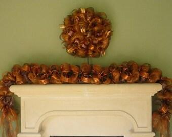 Fall Garland, Mantle Decor, Autumn Garland, Fall Mesh Garland, Burnt Orange Chocolate Copper (866)