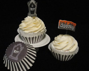 RIP and Stripes Cupcake Liners and Cupcake Picks, Halloween, Halloween Party, Kids Party, Halloween Cupcakes, Pirate Party - Quantity 25