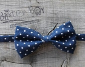 Navy with small white polka dots little boy bow tie - photo prop, ring bearer, wedding