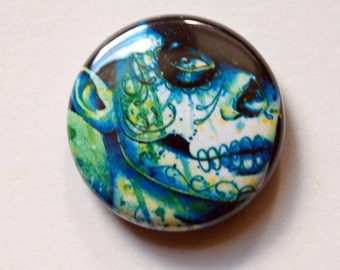 1 inch Pin Back Button - Do You Remember - Day of the Dead Sugar Skull Girl Tattoo Flash Pop Art Artwork on a One Inch Badge