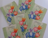 Set of 6 Colorful Small Birthday Gift Note Greeting Cards  - Unused Circa 1940s
