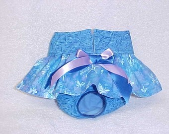 Female Dog Diaper Panties Pet Wrap Doggie Pants Britches Skirt Size XSmall To XLarge Blue Butterfly Skirt