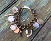 Cabinet  of Curiosities Part Deux  - Claw Tooth Antler Skull  Key Pyrite Charm Bracelet