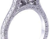 14k white gold round cut diamond engagement ring art deco antique style 2.70ctw