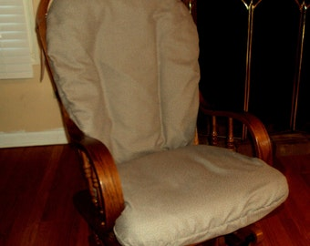 Caffè Latte  Cotton Blend  -Glider Rocker SLIP COVER For Your Cushions  - Family Room or Nursery