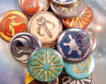 "Star Wars Symbols, Star Wars Magnets, Star Wars Pins, 1"" Flat Bk, Hollow Bk, Cabochons, 12 ct"