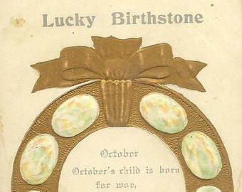 Lucky Birthstone OPALS in Lucky Horseshoe October Birthday Antique Postcard 1908