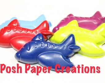 30 large airplane crayons - individually wrapped in cello bag tied with ribbon
