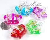 5pcs+ 45mm Large Glitter Crown Princess Acrylic Pendants Charms
