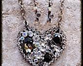Sale Crystal AB Black Diamond Heart Pendant Art Necklace and Earring Set