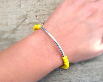 Canary Yellow Crystal Bracelet, Stackable Bracelet, Silver Bar Bracelet, Bohemian Bracelet, Bohemian Jewelry, Ready to Ship