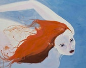 Swim Art Card original art by Lou Tollefson