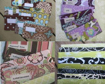 Designer Cash Envelopes SIX Cash only Fabric envelopes   Choose from Four Different Color Combinations