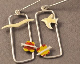 silver earrings,  Seagull with Butterfly earrings, liquid glass earrings, white enamel earrings